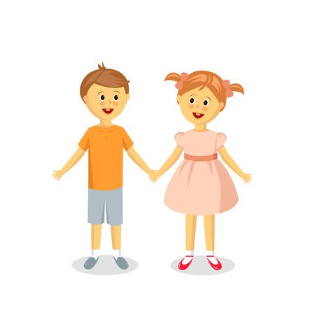 niño y niña: Amistad. Niño y niña en el fondo blanco. Personajes de caricatura