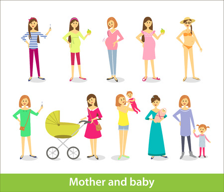 Pregnant woman and woman with newborn baby, mother and baby. Vector characters in cartoon style Illustration