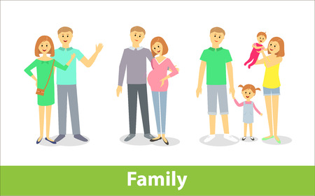 maternity leave: Family. Couples with children. Vector characters in cartoon style