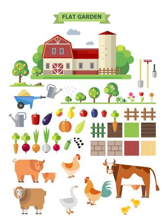 animales granja: Granja plana, conjunto de vectores. Elementos para el juego: sprites y juegos de fichas. Hortalizas, frutas y animales de granja