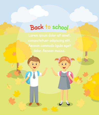 bush babies: Back to school background. Boy and girl with maple leaves standing outside
