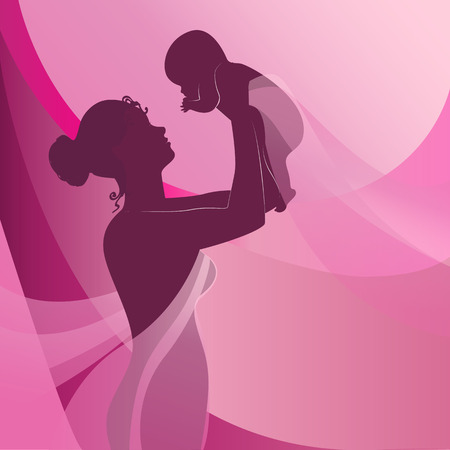 Happy mother raising newborn baby on pink background