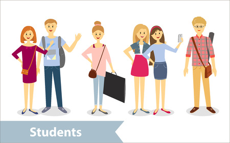 high school: Students. Vector characters in cartoon style
