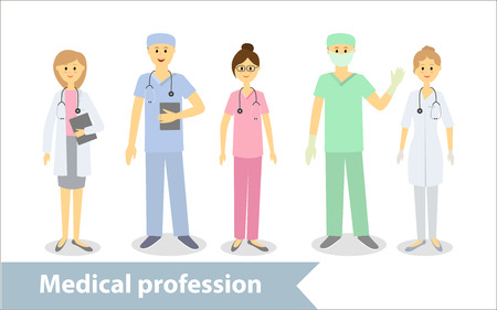 Medical profession. Doctors and medical staff. Set of characters in cartoon style