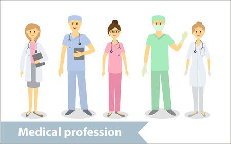 Profesión médica. Los médicos y el personal médico. Conjunto de personajes de dibujos animados de estilo