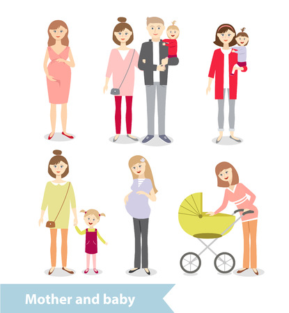 pregnant mom: Mother and baby. Pregnant woman. Family. Couple with children. characters in cartoon style