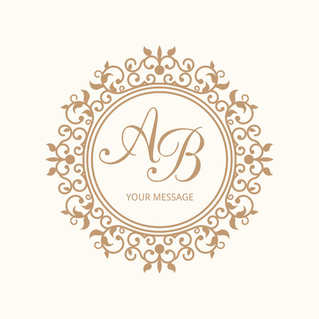 Elegant floral monogram design template for one or two letters . Wedding monogram. Calligraphic elegant ornament.  Vettoriali
