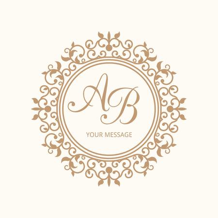 Elegant floral monogram design template for one or two letters . Wedding monogram. Calligraphic elegant ornament.  Illustration