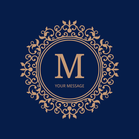 ślub: Elegant monogram design template. Calligraphic floral ornament.