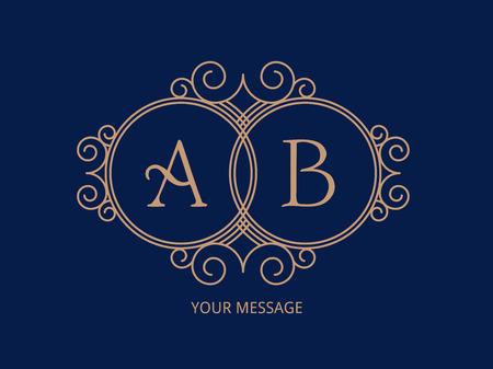Elegant monogram for two letters. Illustration