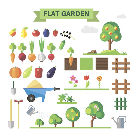 with sets of elements: Flat garden, vector set. Elements for game: sprites and tile sets. Vegetables, fruits, trees, groubd, grass, flowers, fences. Illustration