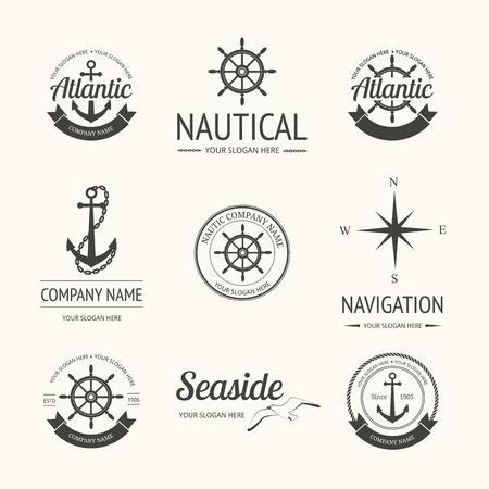 nautical: Set of retro nautical labels, badges and  templates Illustration