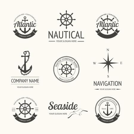 nautic: Set of retro nautical labels, badges and  templates Illustration
