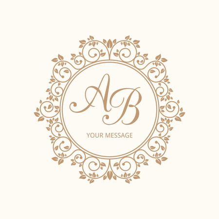 Elegant floral monogram design template for one or two letters . Weddding monogram. Calligraphic elegant ornament. Vector illustration. Ilustracja