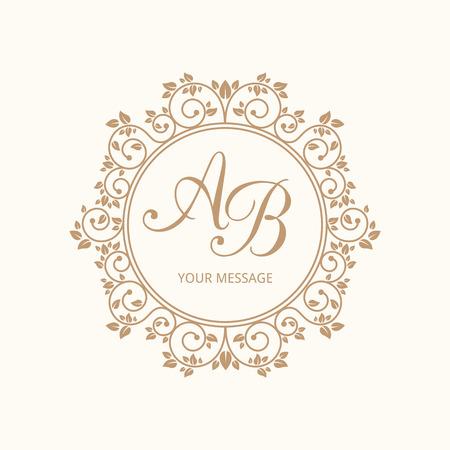 Elegant floral monogram design template for one or two letters . Weddding monogram. Calligraphic elegant ornament. Vector illustration. Stock Illustratie