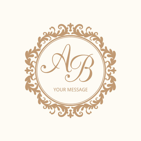 Elegant floral monogram design template for one or two letters . Wedding monogram. Calligraphic elegant ornament. Vector illustration.