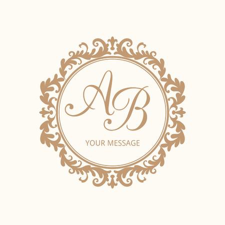 Elegante bloemen monogram design template voor één of twee letters. Huwelijk monogram. Kalligrafische elegante ornament. Vector illustratie. Stockfoto - 44129287