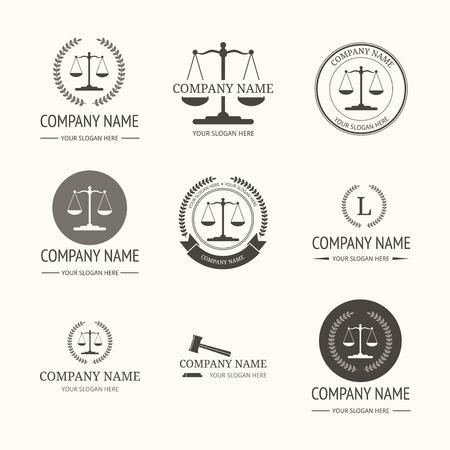 Advocatenkantoor logo template. Vector reeks uitstekende etiketten, logo templates en monogram