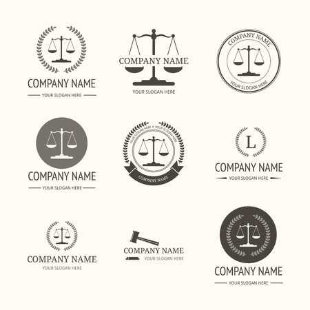 ley: El bufete de abogados logotipo de la plantilla. Vector conjunto de etiquetas vintage, plantillas de logotipo y el monograma Vectores