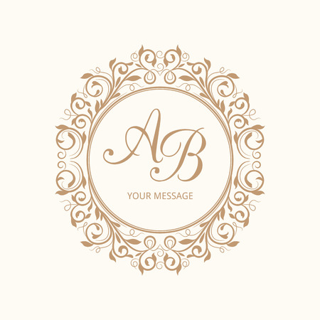 logo letter: Elegant floral monogram design template for one or two letters . Wedding monogram. Calligraphic elegant ornament. Vector illustration.