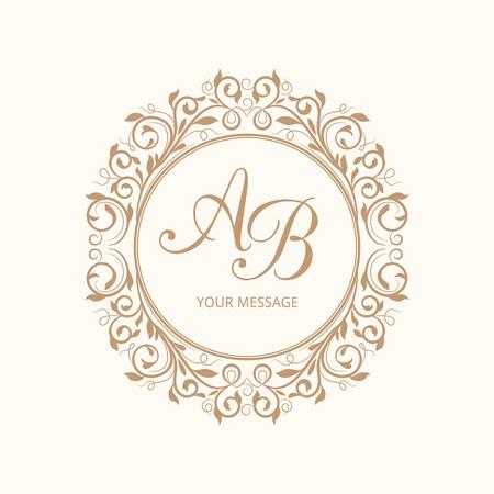 lineal: Plantilla elegante del monograma del diseño floral para una o dos letras. Monograma de la boda. Ornamento elegante caligráfico. Ilustración del vector. Vectores