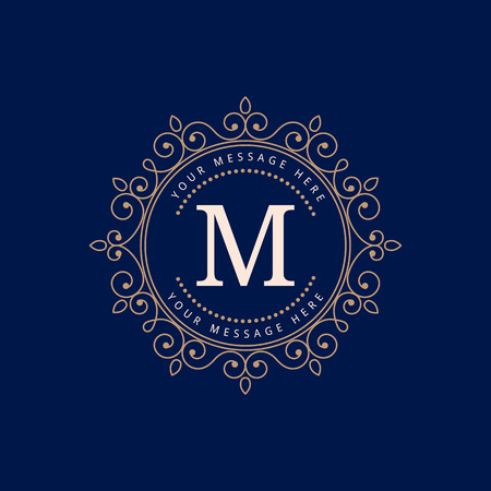 Elegant monogram design template. Calligraphic vintage ornament. Can be used for label and invitation design .Business sign, monogram identity for restaurant, boutique, cafe, hotel, heraldic, jewelry.