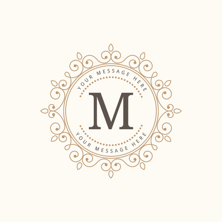 be the identity: Elegant monogram design template. Calligraphic vintage ornament. Can be used for label and invitation design .Business sign, monogram identity for restaurant, boutique, cafe, hotel, heraldic, jewelry.