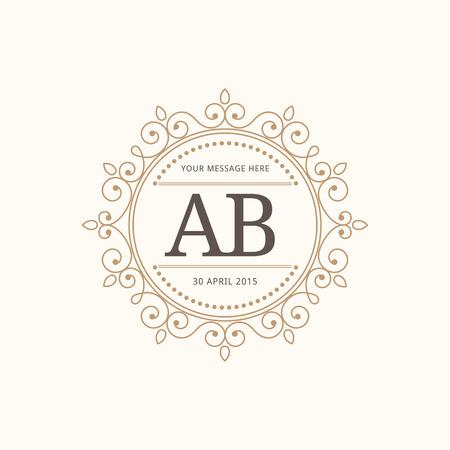 Elegant vintage monogram design template for one or two letters . Wedding monogram. Calligraphic elegant ornament. Vector illustration. Stock Illustratie