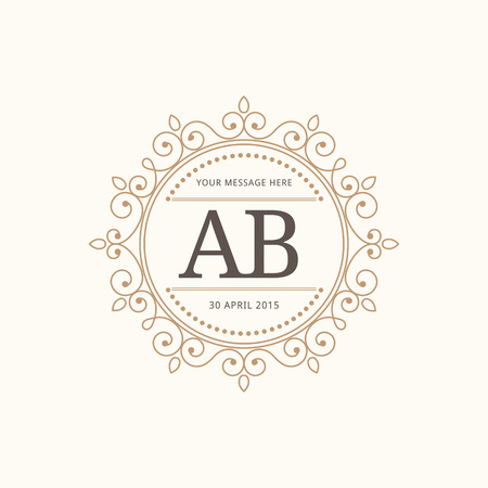 Elegant vintage monogram design template for one or two letters . Wedding monogram. Calligraphic elegant ornament. Vector illustration. Illustration