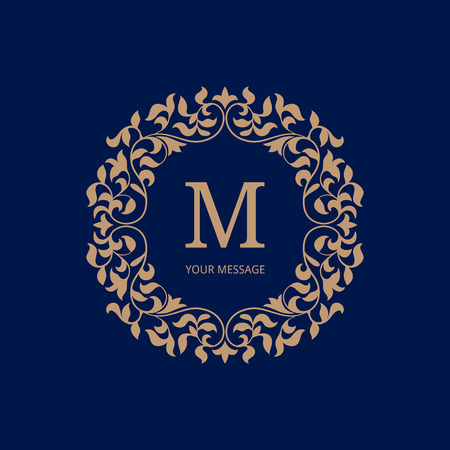 leaf line: Elegant monogram design template. Calligraphic floral ornament. Can be used for label and invitation design .Business sign, monogram identity for restaurant, boutique, cafe, hotel, heraldic, jewelry.