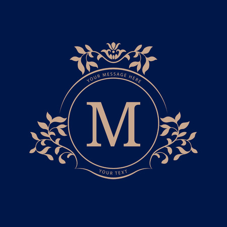 Elegant monogram design template. Calligraphic floral ornament. Wedding monogram. Can be used for label and invitation design .Business sign, monogram identity for restaurant, boutique, cafe, hotel, heraldic, jewelry. Stock Illustratie