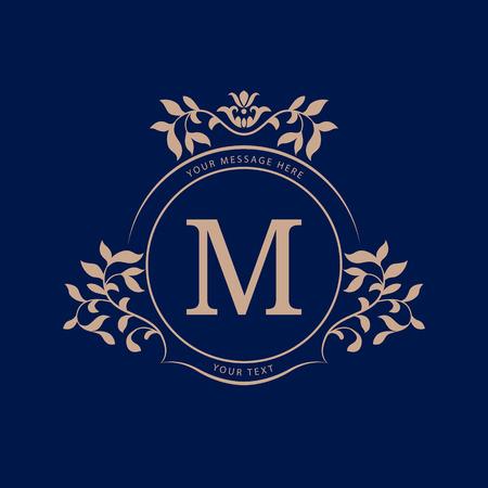 Elegant monogram design template. Calligraphic floral ornament. Wedding monogram. Can be used for label and invitation design .Business sign, monogram identity for restaurant, boutique, cafe, hotel, heraldic, jewelry. Illustration