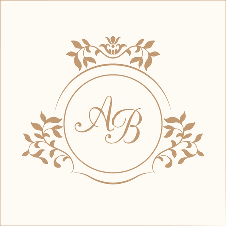 Elegant floral monogram design template for one or two letters . Wedding monogram. Calligraphic elegant ornament. Vector illustration. Business sign, monogram identity for restaurant, boutique, cafe, hotel, heraldic, jewelry.