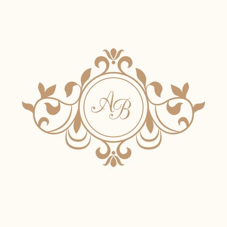 Elegant floral monogram design template for one or two letters . Wedding monogram. Calligraphic elegant ornament. Vector illustration. Business sign, monogram identity for restaurant, boutique, cafe, hotel, heraldic, jewelry.
