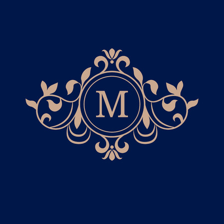 decorative letter: Elegant monogram design template. Calligraphic floral ornament. Can be used for label and invitation design .Business sign, monogram identity for restaurant, boutique, cafe, hotel, heraldic, jewelry.
