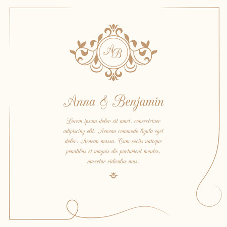 initial: Invitation card with monogram. Wedding invitation, Save The Date. Vintage invitation template. Vector illustration
