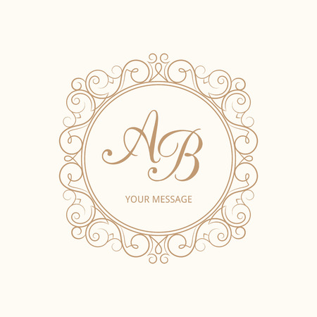 Elegant monogram design template for one or two letters . Wedding monogram. Calligraphic elegant ornament. Vector illustration. Business sign, monogram identity for restaurant, boutique, cafe, hotel, heraldic, jewelry. Illustration