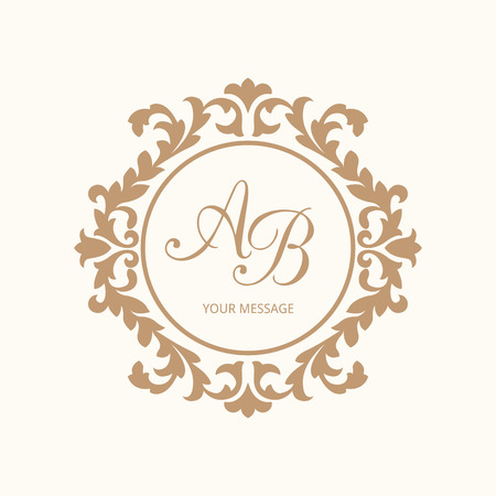 vector ornament: Elegant floral monogram design template for one or two letters . Wedding monogram. Calligraphic elegant ornament. Vector illustration. Business sign, monogram identity for restaurant, boutique, cafe, hotel, heraldic, jewelry.