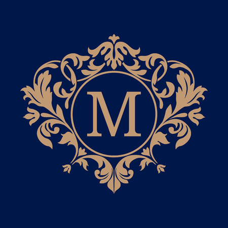 boutique: Elegant monogram design template. Calligraphic floral ornament. Can be used for label and invitation design .Business sign, monogram identity for restaurant, boutique, cafe, hotel, heraldic, jewelry.
