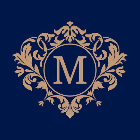 boutique hotel: Plantilla de diseño del monograma elegante. Ornamento floral caligráfico. Puede ser utilizado para el sello y la invitación diseño .business signo, la identidad monograma para restaurante, boutique, cafetería, hotel, heráldico, joyería. Vectores
