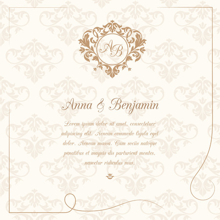 Invitation card with monogram and vintage background. Wedding invitation, Save The Date. Vintage invitation template. Illustration