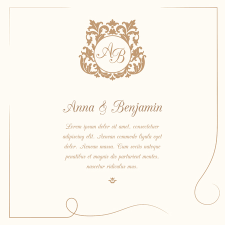 Invitation card with monogram. Wedding invitation, Save The Date. Vintage invitation template. Vector illustration