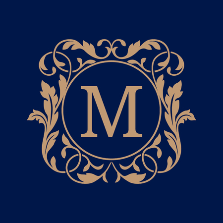 restaurant sign: Elegant monogram design template. Calligraphic floral ornament. Can be used for label and invitation design .Business sign, monogram identity for restaurant, boutique, cafe, hotel, heraldic, jewelry.