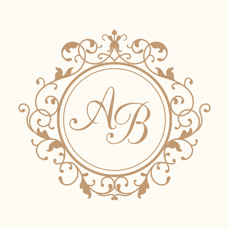 Elegant floral monogram design template for one or two letters . Wedding monogram. Calligraphic elegant ornament. Business sign, monogram identity for restaurant, boutique, hotel, heraldic, jewelry. Ilustrace