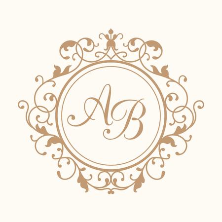 Elegant floral monogram design template for one or two letters . Wedding monogram. Calligraphic elegant ornament. Business sign, monogram identity for restaurant, boutique, hotel, heraldic, jewelry. Vectores