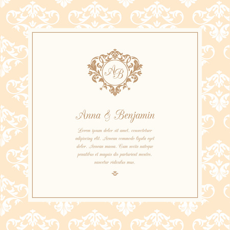 Invitation Card With Monogram And Vintage Background Wedding
