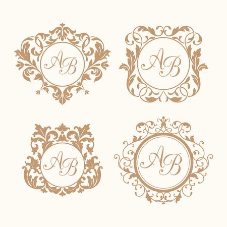婚禮: 對一個或兩個字母集優雅的花香會標設計模板。婚禮會標。書法優雅的裝飾品。為餐廳,酒店,紋章,珠寶會標身份。
