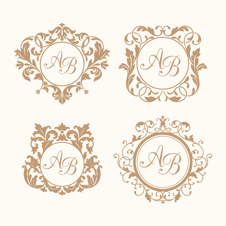 wedding: Bir veya iki harf için zarif çiçek yaptırmak tasarım şablonları ayarlayın. Düğün tuğrası. Kaligrafik zarif süsleme. restoran, otel, hanedan, takı için tuğrası kimlik.