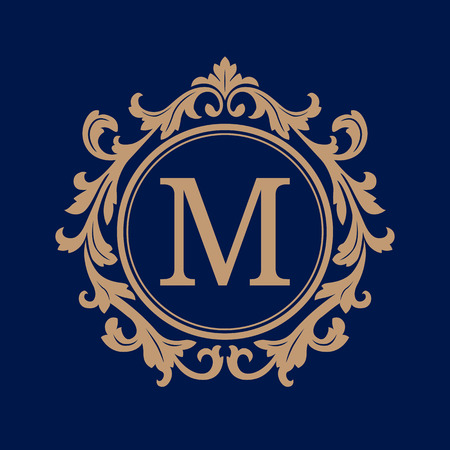 Elegant monogram design template. Calligraphic floral ornament. Can be used for label and invitation design .Business sign, monogram identity for restaurant, boutique, cafe, hotel, heraldic, jewelry.