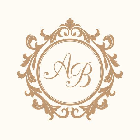 Elegante bloemen monogram design template voor één of twee letters. Huwelijk monogram. Kalligrafische elegante ornament. Uithangbord, monogram identiteit voor restaurant, boutique, hotel, heraldisch, sieraden. Stockfoto - 47530235